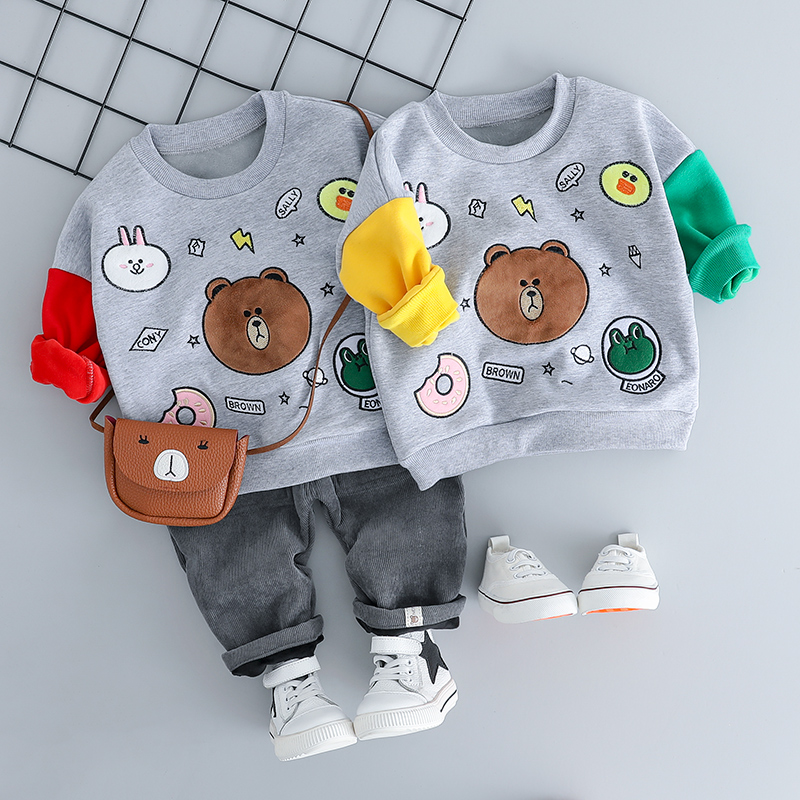 HYLKIDHUOSE 2018 Autumn Baby Girl Boy Clothing Sets Infant Clothes Suits Bear Plush T Shirt Pants Casual Children Kids Costume baby boys girls sets 2018 winter t shirt pants cotton kids costume girl clothes suits for boy casual children clothing 3cs204