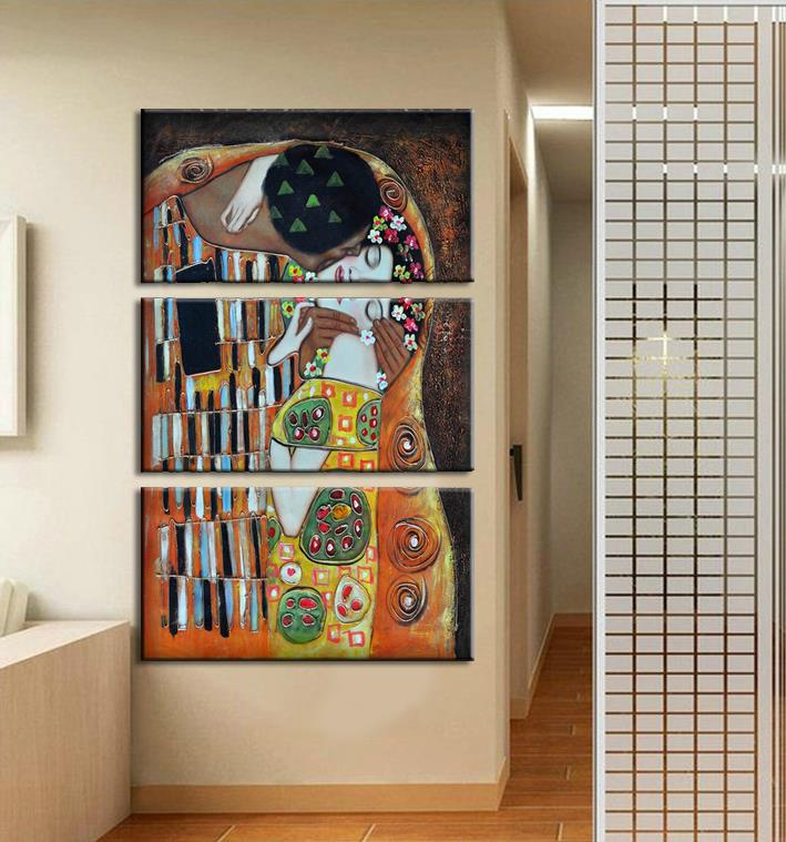 3 Panel Wall Art African Abstract lover sweetheart Oil Painting Canvas Frame Set Pictures Decor Picture - Home store