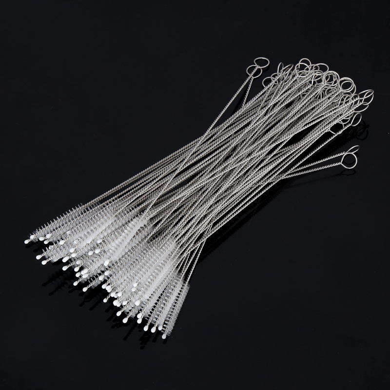 100pcs/lot Straw Brushes For Reusable Plastic Straws Eco-friendly Stainless Steel Straw Brush 17.5cm Fit For 6mm Diameter Straws