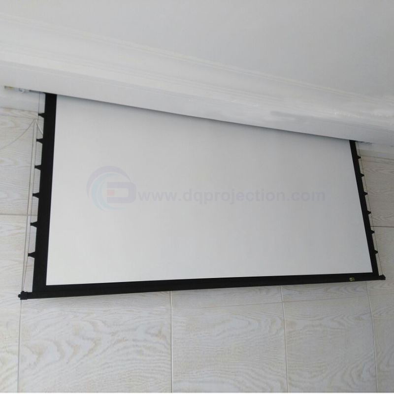 150 4:3 Top-ranking Electric Tab Tension Projection Screen for Home Theater LED LCD HD Cinema Motorized Projector Screen luxury motorized electric tab tension 139inch 16 10 matte white home theater high quality cinema projector screen