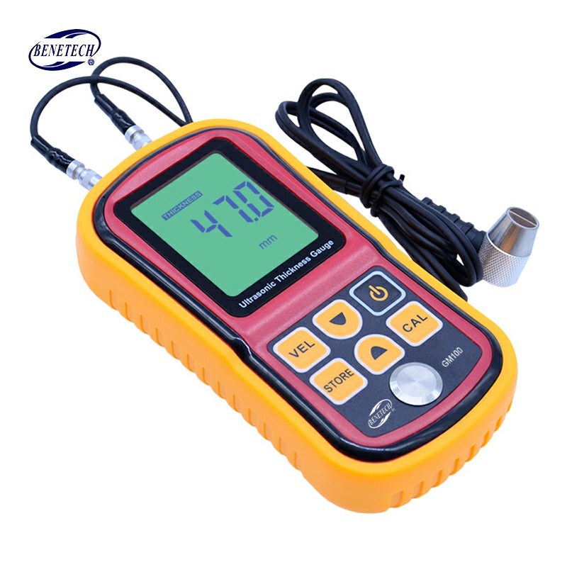 Digital LCD Ultrasonic Thickness Gauge Meter GM100 high precision Steel thickness tester 1.2-225mm 0.1mm Resolution