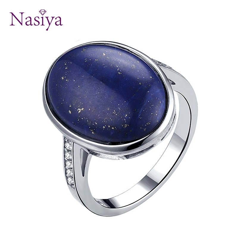 Finger Rings For Women 925 Stering Silver jewelry Oval Lapis Lazuli Stone Jewelry Wedding Engagement Party for Anniversary Gift fashion natural stone 13x18mm lovely oval lapis lazuli stones beads chain necklace for women party wedding jewelry 18inch my5179