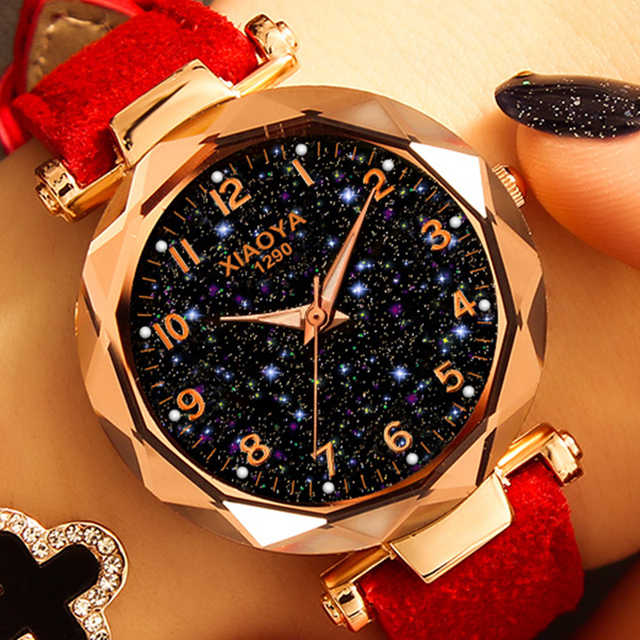 Fashion Women Watches 2018 Best Sell Star Sky Dial Clock Luxury Rose Gold Women'
