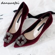 7 Color women's velvet square Rhinestone buckle slip-on comfort flats brand design pointed toe female footwear spring new shoes