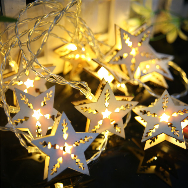 battery operated 25m 10 led wood star string lights warm white fairy lights christmas window - Battery Operated Christmas Window Decorations