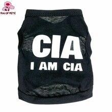 """Новая мода лето классные черные """"Я CIA"""" шаблон жилет из терилена одежда с принтом в виде собак для питомцы собаки щенки Костюмы"""