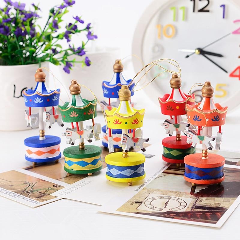 12pcs lot wodden xmas ornaments carousel horse on the - Adornos de navidad para casa ...