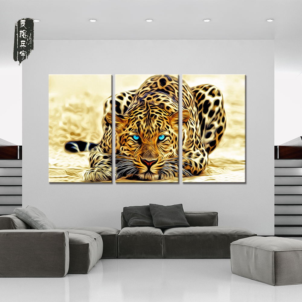 Canvas Wall Art Animal Oil Painting Leopard Modular Pictures Decorative Prints and Posters 3 Panel for Living Room Wall No Frame