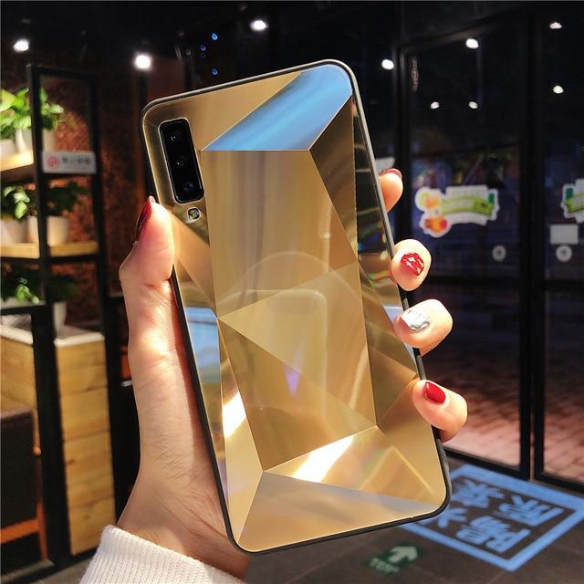 Pour Samsung Galaxy A7 2018 Cas Diamant Miroir Couverture Arrière Pour Samsung M30 M20 M10 A10 A20 A30 A50 A70 A6 A8 A9 J4 J6 Plus Couverture