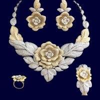 GODKI 86mm Rose Flower Leaf Luxury Women Bridal Cubic Zirconia Ring Bangle Necklace Earring Dubai Jewelry Set Jewellery Addict