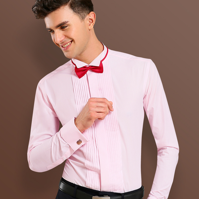2017 nueva moda hombres camisa de vestir marca boda manga larga Rosa ...
