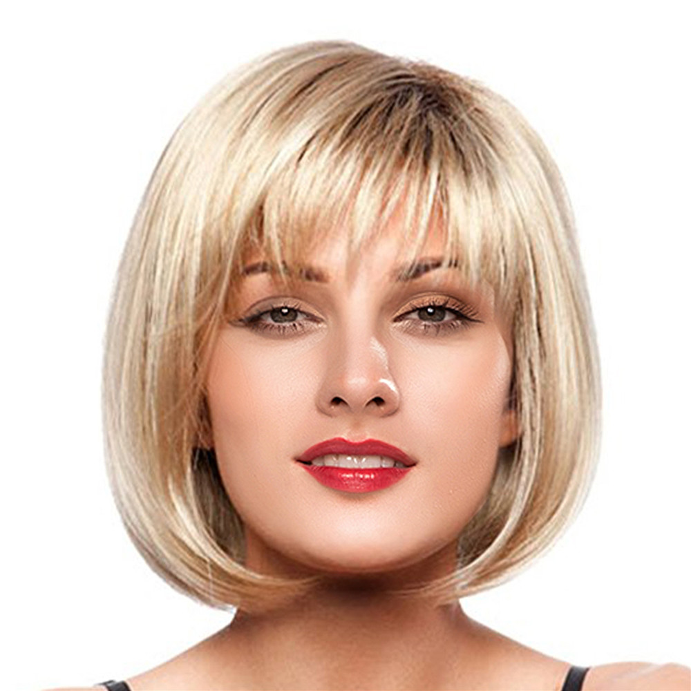 Hair Care Wig Stands Women Short Straight Blonde Full Bangs Bob Hairstyle Synthetic Hair Full Wig Synthetic Drop shipping Aug1 stylish straight neat bang human hair bob women s wig
