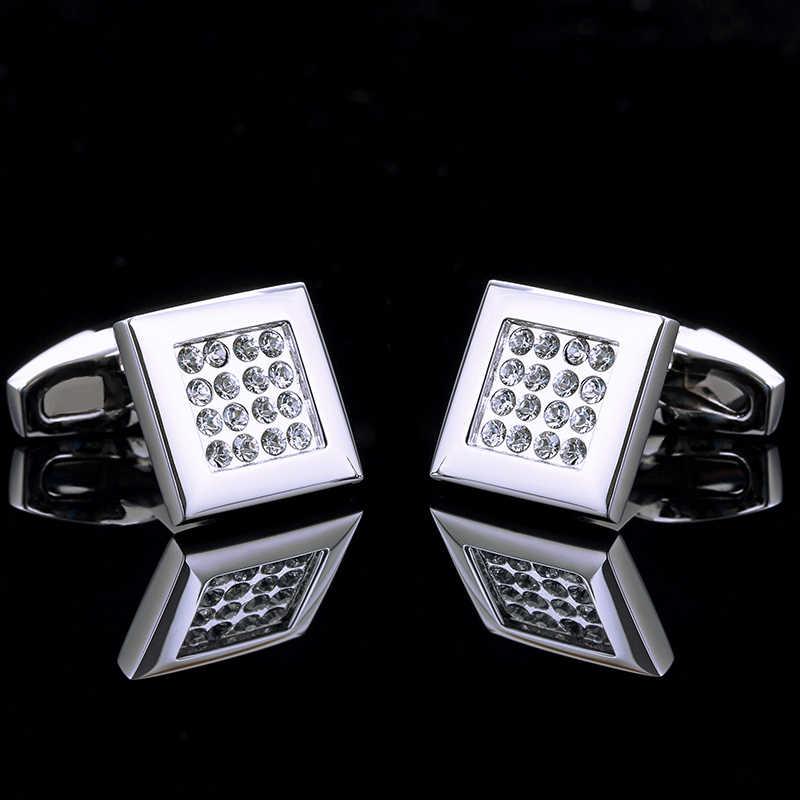 Kflkジュエリーシルバーフレンチシャツカフスボタン用メンズブランドクリスタルカフリンク高級ウェディングボタン高品質送料無料
