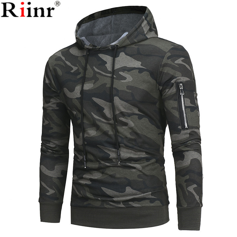 Riinr 2018 Fashion New Arrival Sweatshirts Men Spring Brand Casual Military Style Camouflage Long Sleeve Men Hoodies Pullover