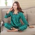 2016 del otoño del resorte rayón pijama para para dama juvenil de seda del faux elegante casa del salón del sueño de nightwears pijama pijama