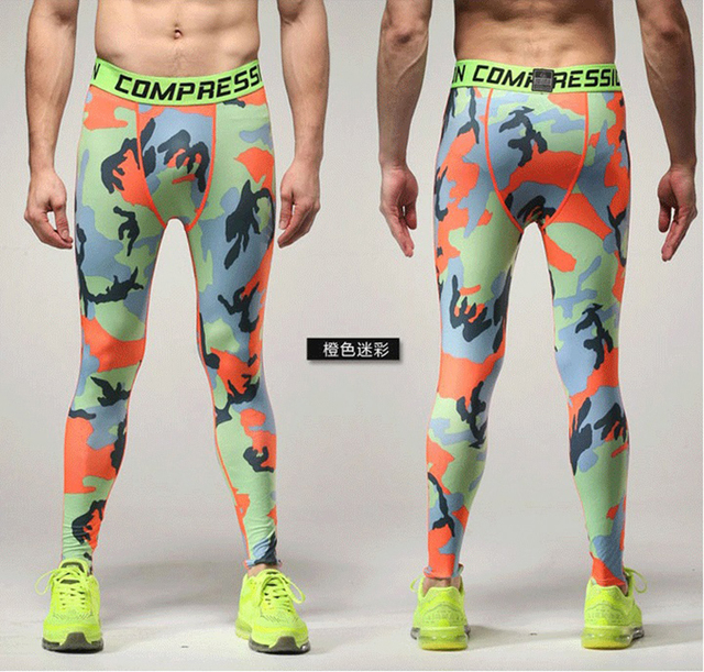9a59538312c4d Running Camo Base Layer Fitness Jogging Trousers Camo Compression Tights  Long Pants Sport Training Leggings Mens Gym Wear S-3XL