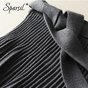 Image 3 - Sparsil Women Winter Wool Knitted Long Skirt Pleated Solid Bow Sash Belt Office Lady A Line Black Gray Female Knitwear Skirts