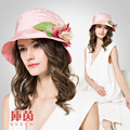 2016 New Design Kenmont Summer Women Elegant Bucket Hat Real Silk Breathable Vacation Sun Protection Caps Wide Brim B-3208