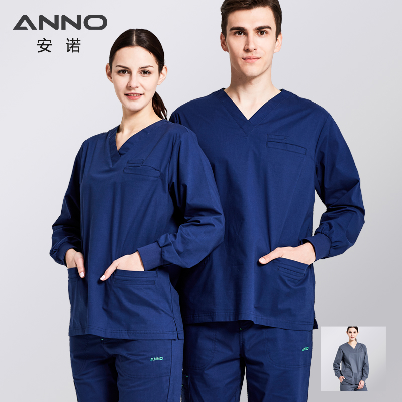 ANNO Elasticity Medical Clothing Long Sleeve for Women Men Hospital Nursing Scrubs Set Clinical Uniforms Surgical