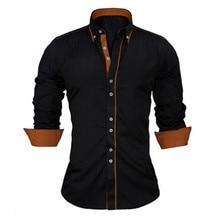 VISADA JAUNA ขนาดยุโรปชายเสื้อ 2017 ใหม่ 100% Cotton Slim ธุรกิจแบรนด์สบายๆเสื้อ Homme n356