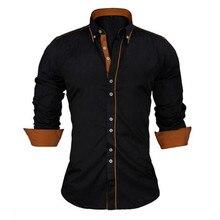 VISADA JAUNA אירופאי גודל גברים של חולצה 2017 חדשה 100% כותנה רזה עסקי מזדמן מותג בגדים ארוך שרוול תחתונית Homme n356