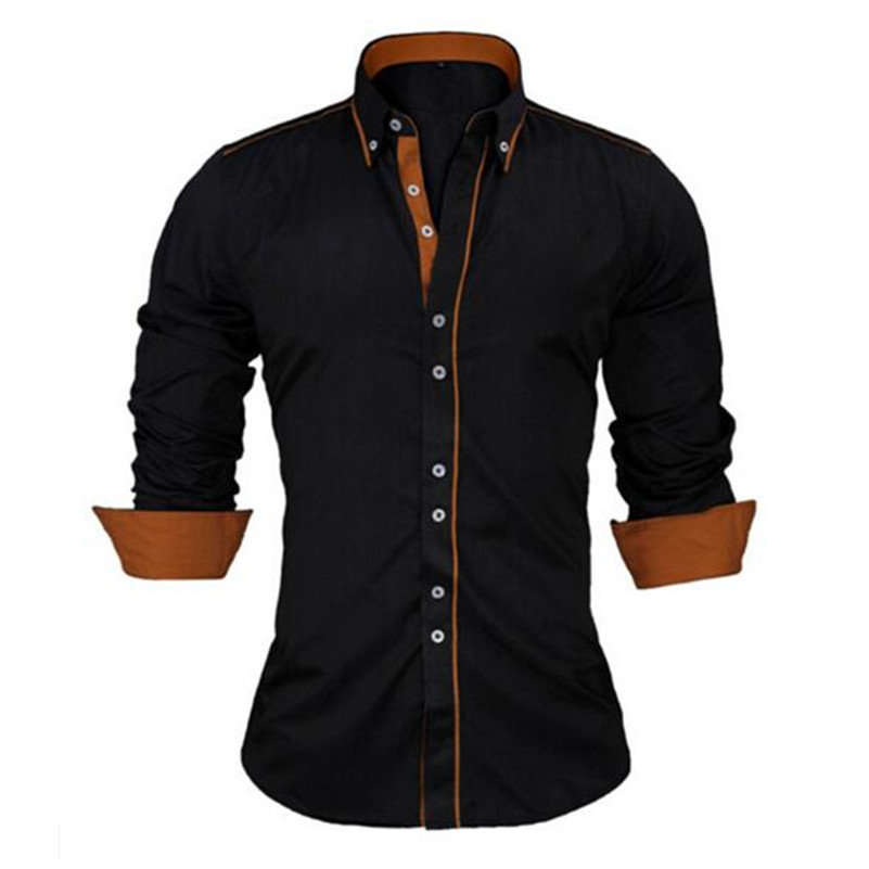 VISADA JAUNA taille européenne hommes Chemise 2017 nouveau 100% coton mince affaires décontracté marque vêtements à manches longues Chemise Homme N356