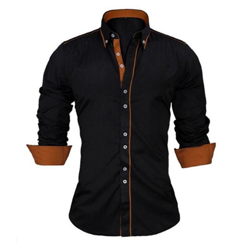 Visada jauna camisa masculina tamanho europeu 2017 novo 100% algodão magro negócio casual marca roupas de manga longa chemise homme n356