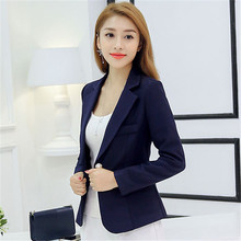 цена на Blazer Women Korean Short Slim Blazers Coat 2019 New Spring Office Lady Black Long Sleeve One Button Blazer Jacket Feminina JD28