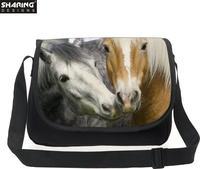 高カジュアル動物馬印刷女性メッセンジャーバッグキャンバスショルダーハンドバッグ女性女の子クロスボディトラベルバッ