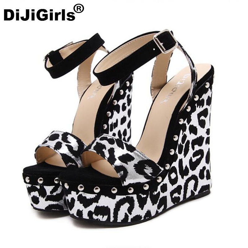 DiJiGirls best selling lady Leopard comfortable sandals fashion slope with waterproof Taiwan sexy women high heels shoes woman best bags fashion lady 1301 71