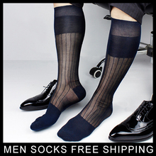 Super Quality Men TNT Nylon Silk socks Sheer Formal Dress Socks Sexy Gay Transparent Stripe Business TNT socks