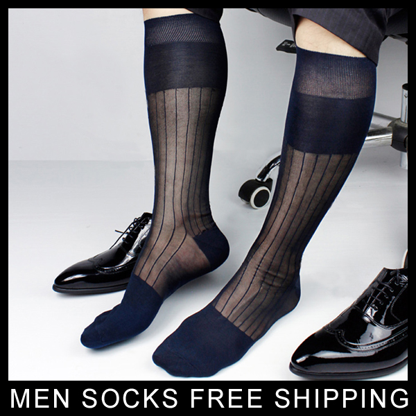Super Quality Men TNT Nylon Silk Socks Sheer Formal Dress Socks Sexy Gay Transparent Stripe Business TNT Socks