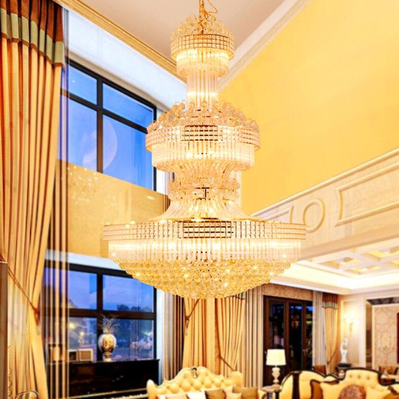 Lustre en cristal moderne Long lustres en or luminaire blanc chaud neutre blanc froid blanc 3 couleurs Dimmable lampes LED - 6