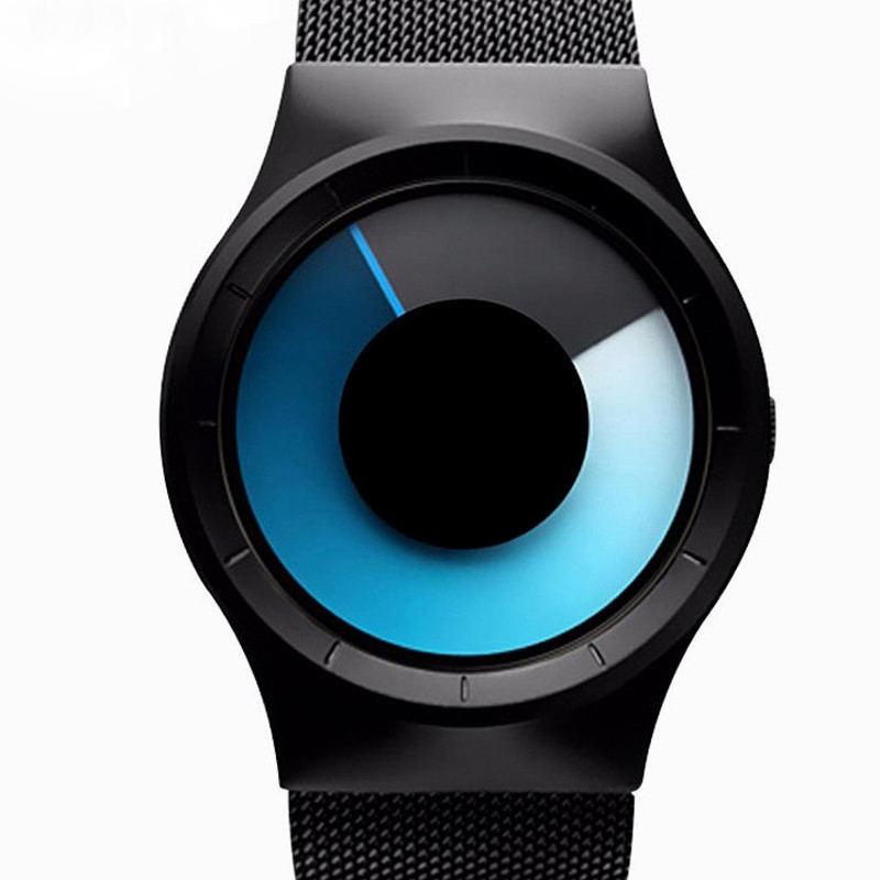 Prix pour Creative Unisexe Concept Montres Bracelet Maille De Luxe Marque Hommes Mode Genève Quartz Horloge Hommes Cadeaux