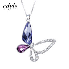 Cdyle 925 Sterling Silver Women Necklace Embellished with crystals from Swarovski Pendant Crystal Butterfly Jewellery(China)