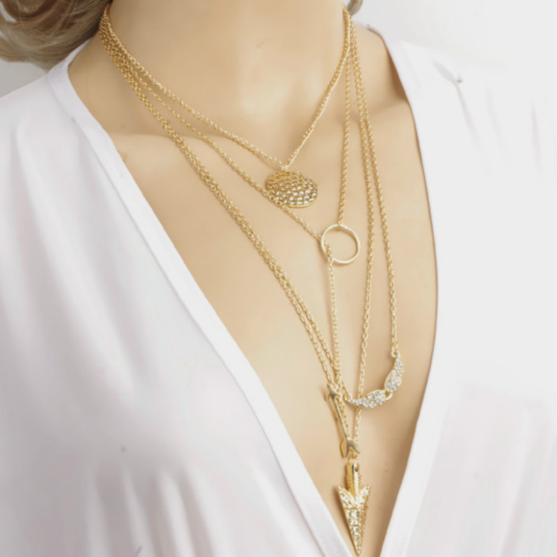 new trendy multi layer necklace stainless steel Angel wings arrow Combination for women initial necklace Hot Wholesale in Pendant Necklaces from Jewelry Accessories