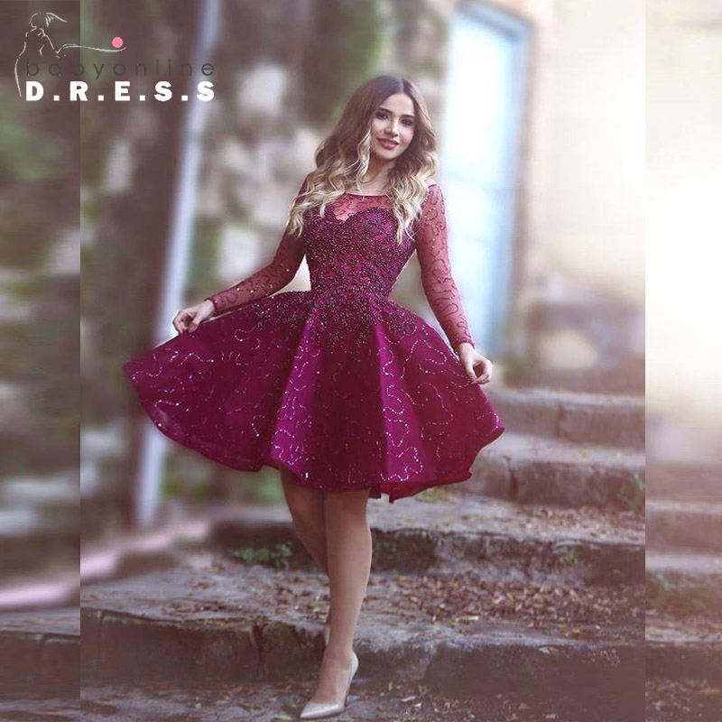 Long Sleeve Burgundy Short Homecoming Dresses 2017 Shiny Sequin Knee Length Cocktail Party
