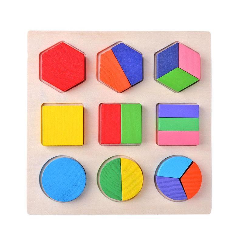 Деревянные геометрические формы головоломка Монтессори Сортировка математические кирпичи дошкольного обучения обучающая игра для малышей игрушки для детей - Цвет: C