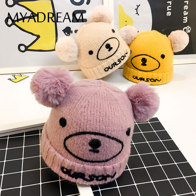 MYADREAM Cute Bear Velvet Thick Beanie for Baby Children Winter Hat with Double Pompom Knitted Winter Hats for Kids Warm Cap cute cartoon bear ms qiu dong the day man with thick warm knitting wool hat sets pointed cap