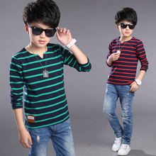 Boys T-Shirts Long Sleeve Kids T-Shirts For Boys Pullover Baby Clothes Striped Teenage Clothes For Boys Spring Boys Tops 6-14 Y