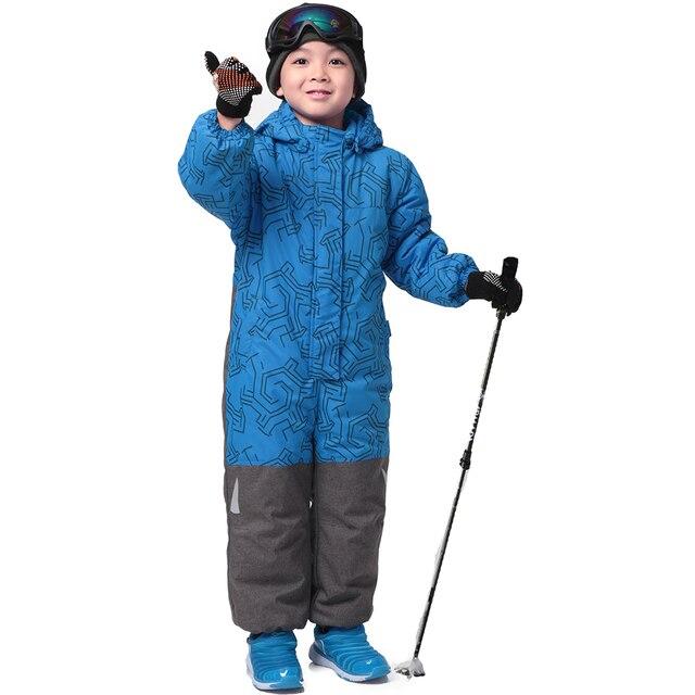 Новинка 2016 Обувь для мальчиков зимний комбинезон полиэстер Однобортный мальчиков зимняя одежда с капюшоном Синий Геометрический для маленьких мальчиков зимние теплые Snowsuit