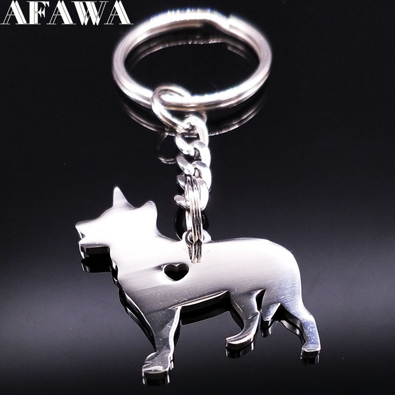 2018 Dog Stainless Steel Key Holder Women Silver Color Pokemon Figures Key Chain Jewelry Christmas Gift llaveros animales K77270
