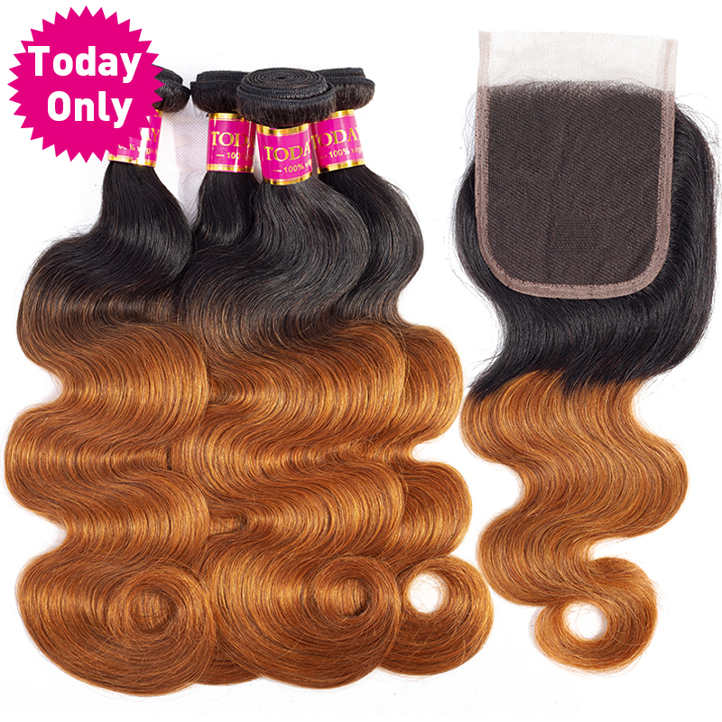 TODAY ONLY Brazilian Body Wave 4 Bundles With Closure Ombre Bundles With Closure Remy Human Hair