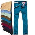 2017 Новый Дизайн Случайные Люди брюки Хлопок Тонкий Брюки Прямые брюки Мода Бизнес Твердые Khaki Черный 9 Вида цвета Мужчины брюки