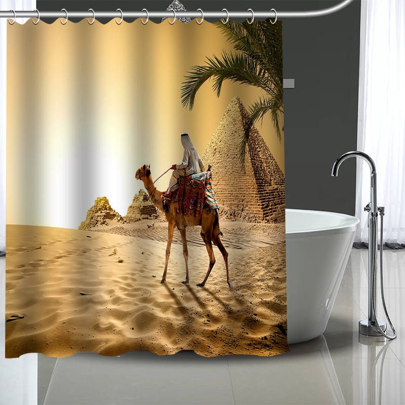 New Custom Camels Curtains Polyester Bathroom Waterproof Shower Curtain With Plastic Hooks More Size