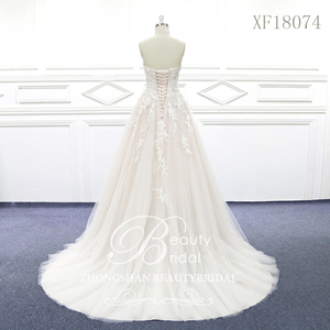 Image 2 - 100% נדל תמונות מתוק לב חתונת שמלות משפט רכבת חתונה Vestido תחרת כלה שמלה עם אגלי XF18074