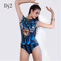Queen Elasticity Short Sleeves One Piece Bathing Suit Hot Printed 3D High Waist Swimwear Blue Peacock