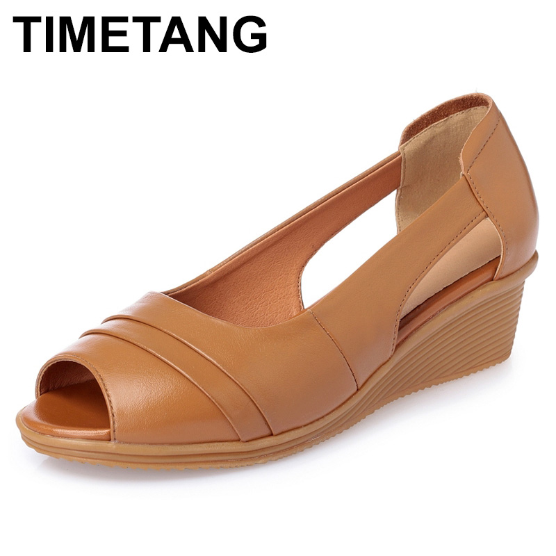 TIMETANG 2018 Summer Women Shoes Woman Genuine Leather Sandals Open Toe Mother Wedges Casual Sandals Women Sandals Plus Size aiyuqi big size women shoe 41 42 43 2018 new women s sandals genuine leather casual comfort wedges open toe roman sandals female