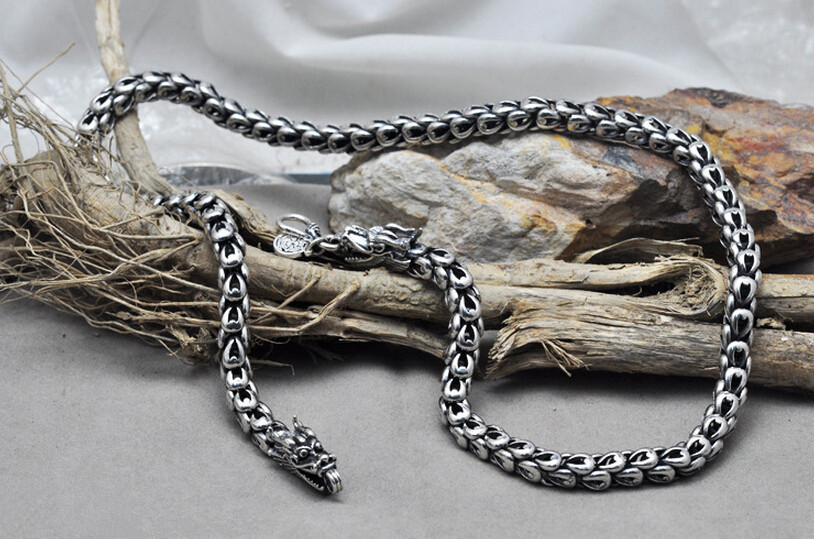 Thai silver dragon original handmade necklace 925 sterling silver male jewelry 7mm thick 55cm 60cm long necklace (HY) 925 sterling silver necklace male thai silver retro palace original handmade fashion domineering dragon scales necklace jewelry