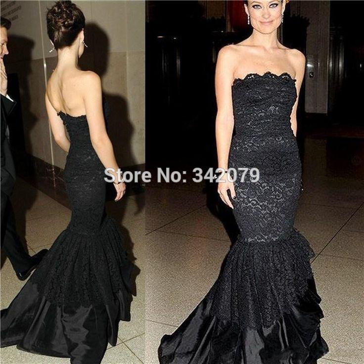 Mermaid Evening Prom Dresses 2015 Strapless Black Lace Celebrity